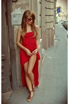 ruby red mulett threadesence dress - crimson sunnies H&M accessories