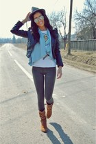 black H&M jacket - heather gray Zara leggings - light orange Bershka shirt