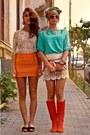 Carrot-orange-bandage-raus-skirt-aquamarine-seafoam-raus-top