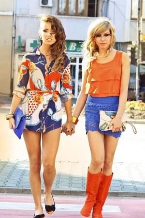 orange dg raus top - blue lace raus dress
