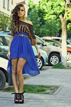 bronze sheer raus shirt - navy mulett raus skirt - black high Blue Angel heels