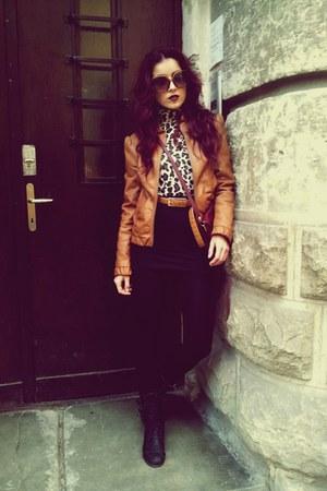 brown leather Amisu jacket - crimson YSL accessories - black Zara skirt