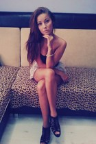 brown 512 inch ba heels - black badeau Amisu top