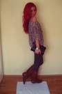 Brick-red-leather-random-boots-charcoal-gray-plain-stradivarius-leggings