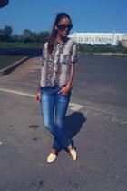 light brown Zara shirt - navy Lee Cooper jeans - eggshell walk on air flats