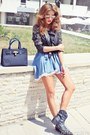 Light-blue-denim-no1-dress-black-leather-stud-no1-jacket