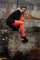 orange Zara pants - black custom made blazer - black ACW wedges
