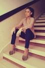 Black-skinny-zara-jeans-tan-chiffon-bershka-shirt-brown-platform-bebo-heels