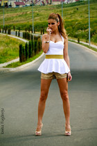 white simple No1 top - tan golden No1 shorts