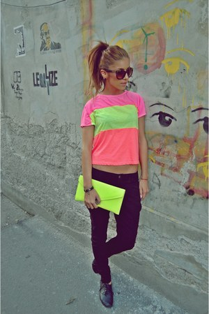 orange bubble gum random top - chartreuse neon clutch random bag