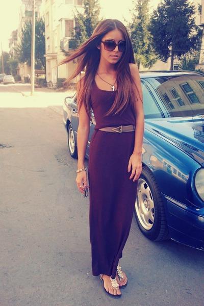 light brown leather escada belt - dark brown Hennes dress