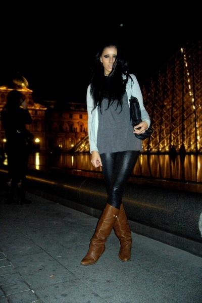 brown boots - black leggings - gray top - silver blazer - black geroges bag