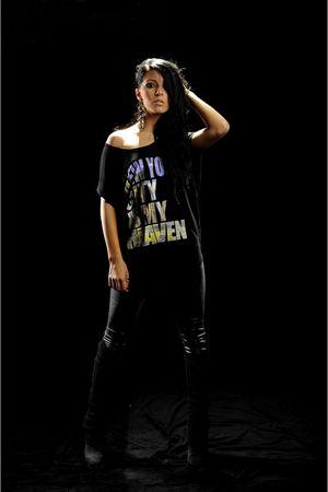 black raus leggings - black raus - black boots - gold accessories