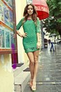 Forest-green-lace-raus-dress-salmon-peep-toe-raus-heels