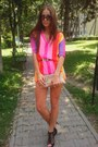 Bubble-gum-colorful-zara-dress-tan-clutch-trendesence-bag-black-sandals-ange