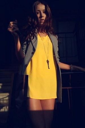 light yellow plain asos dress - heather gray Zara blazer