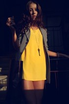 light yellow plain asos dress - heather gray Zara blazer