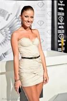 beige Roxana Simon dress - black golden vintage belt - brown Vinatage bracelet