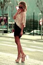 Light-pink-sequin-zara-top-tan-studded-christian-louboutin-heels