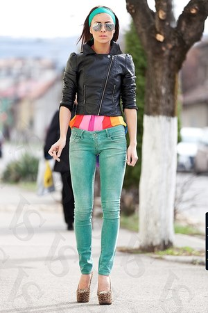 yellow leather H&M jacket - lime green skinny Zara jeans