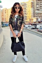 vintage jacket - IQ Shop leggings - sunglasses - ANNA DELLO RUSSO sunglasses