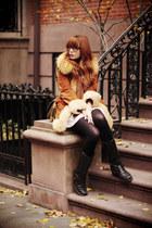 burnt orange faux fur Top Shop coat