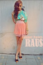 salmon chiffon raus skirt - aquamarine silk raus top