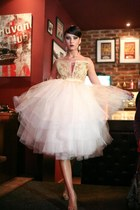 beige ss2012 Roxana Simon dress - tan platform Stefana heels