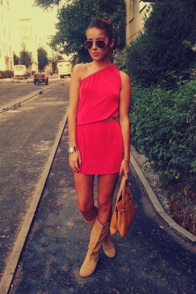 Hot Pink One Shoulder Asos Dresses Light Orange Random Boots ...