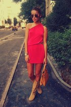 hot pink one shoulder asos dress - light orange random boots