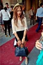 beige island raus blouse - black high waisted vintage shorts