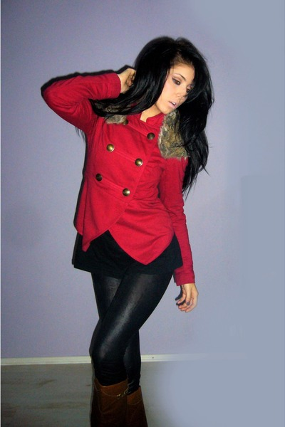 brown random boots - black random leggings - ruby red Stradivarius jacket - came