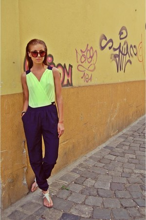 lime green silk raus romper - navy vg H&M sunglasses