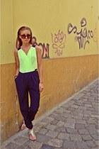 lime green silk raus romper - navy vg H&M sunglasses