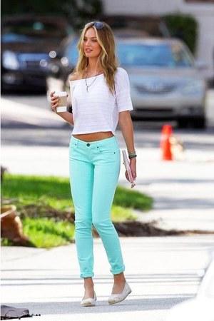 aquamarine pants - ivory t-shirt - beige flats