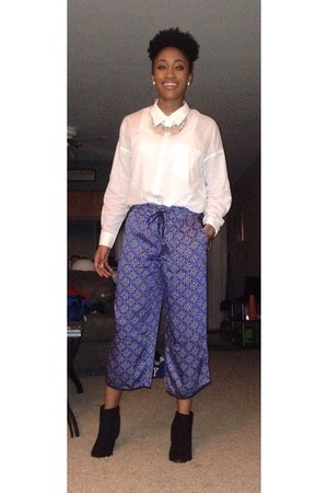 blue satin Forever 21 pants - black Forever 21 boots - white Forever 21 shirt
