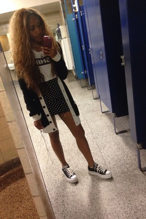black Converse shoes - white Rock & Republic shirt - black Forever 21 skirt