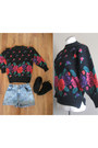Aliya-lucas-sweater-aliya-lucas-shorts-black-leather-moccassins-flats