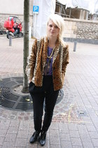 burnt orange vintage blazer - black Maje boots - black Zara pants