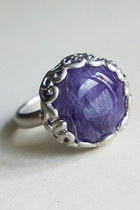 Real Amethyst stone statement ring - vintage style