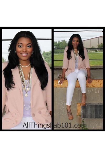 f739f32d49 Pink Vero Moda Blazers, Beige Aldo Shoes, White Seven For All ...