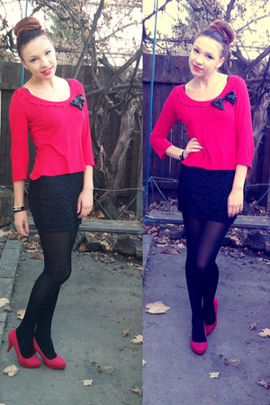 black random tights - black c&a skirt - red random heels - red Venca blouse