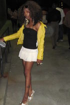 yellow Bebe jacket - black Bebe top - beige Forever 21 skirt - beige Bebe shoes