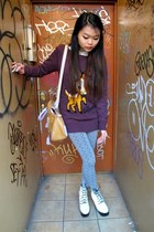 purple bambi sweater H&M sweater - Jeffrey Campbell boots - modcloth bag