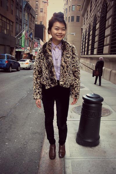 BB Dakota jacket - velvet black BDG jeans - Uniqlo blouse