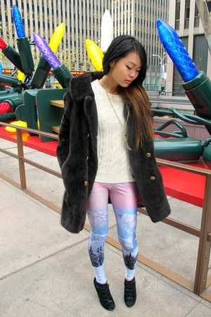 fluffy black Tunnel Vision jacket - pink mountains Black Milk Clothing leggings