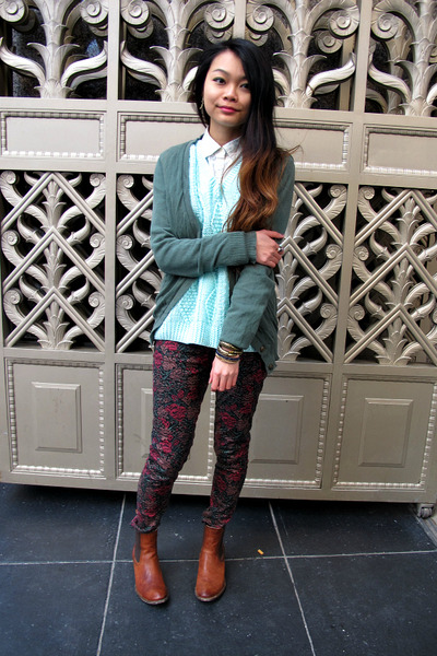 green BDG cardigan - chelsea brown Frye boots - floral roses Insight pants