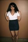 Navy-pencil-skirt-forever-21-skirt-white-cotton-victorias-secret-t-shirt