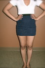 Navy-pencil-skirt-forever-21-skirt-white-cotton-victorias-secret-t-shirt