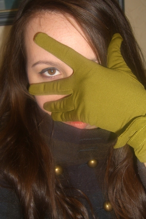 green gloves - brown coat